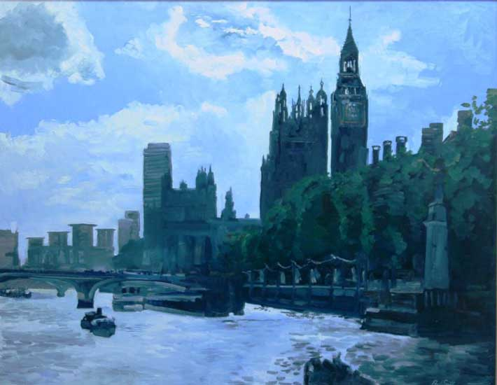 Thames view London. Oil on Canvas 36 x 46 inches (91 X117cm). £POA