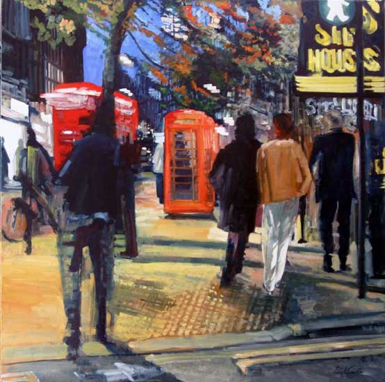 Leicester Square,Charing Cross Road, London, at night. Oil on canvas 46 x 46 inches (117 x 117 cm). £ POA